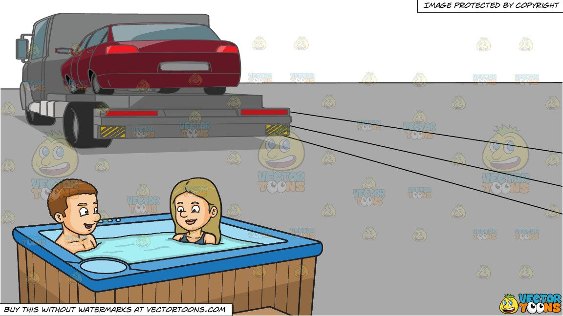 Wood paneled car clipart png transparent download A Couple Enjoying A Dip In The Tub and A Car Being Transported To Another  Location png transparent download