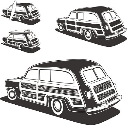 Wood paneled car clipart image free library Surfboard Woodie Wagon Car premium clipart - ClipartLogo.com image free library