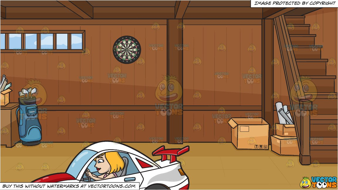 Wood paneled car clipart black and white banner black and white A Woman Driving A White Race Car and A Tidy Basement Of A House Background banner black and white