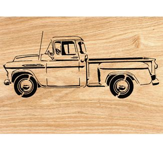 Wood paneled car clipart black and white black and white download 1957 Chevy Pickup Scrolled Wall Art Pattern | scroll saw ... black and white download