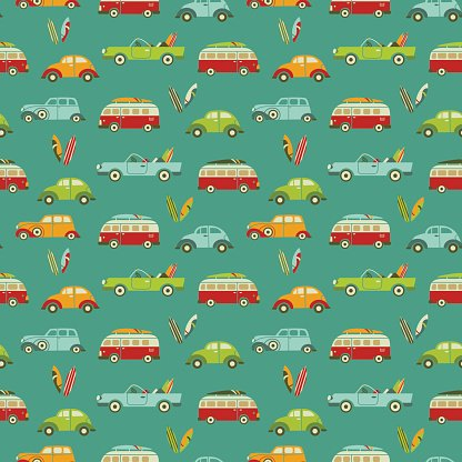 Wood paneled car clipart black and white png free Surf Bus, Surfboards + Retro Cars Seamless Pattern premium ... png free
