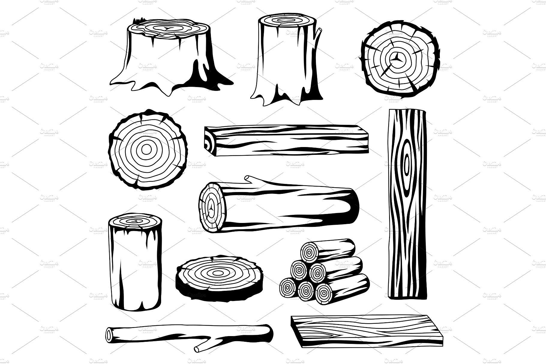 Wood plank black white clipart png black and white stock Set of wood logs for forestry and lumber industry ... png black and white stock
