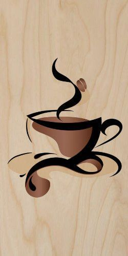 Wood print clipart clip art library Abstract Swirl Artwork Cup of Coffee Java w/ Bean - Plywood ... clip art library