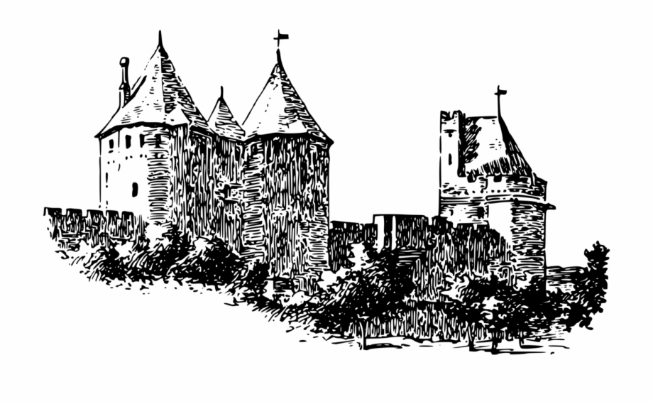 Woodblock clipart freeuse library Woodcut Woodblock Printing Fortification Castle Defensive ... freeuse library