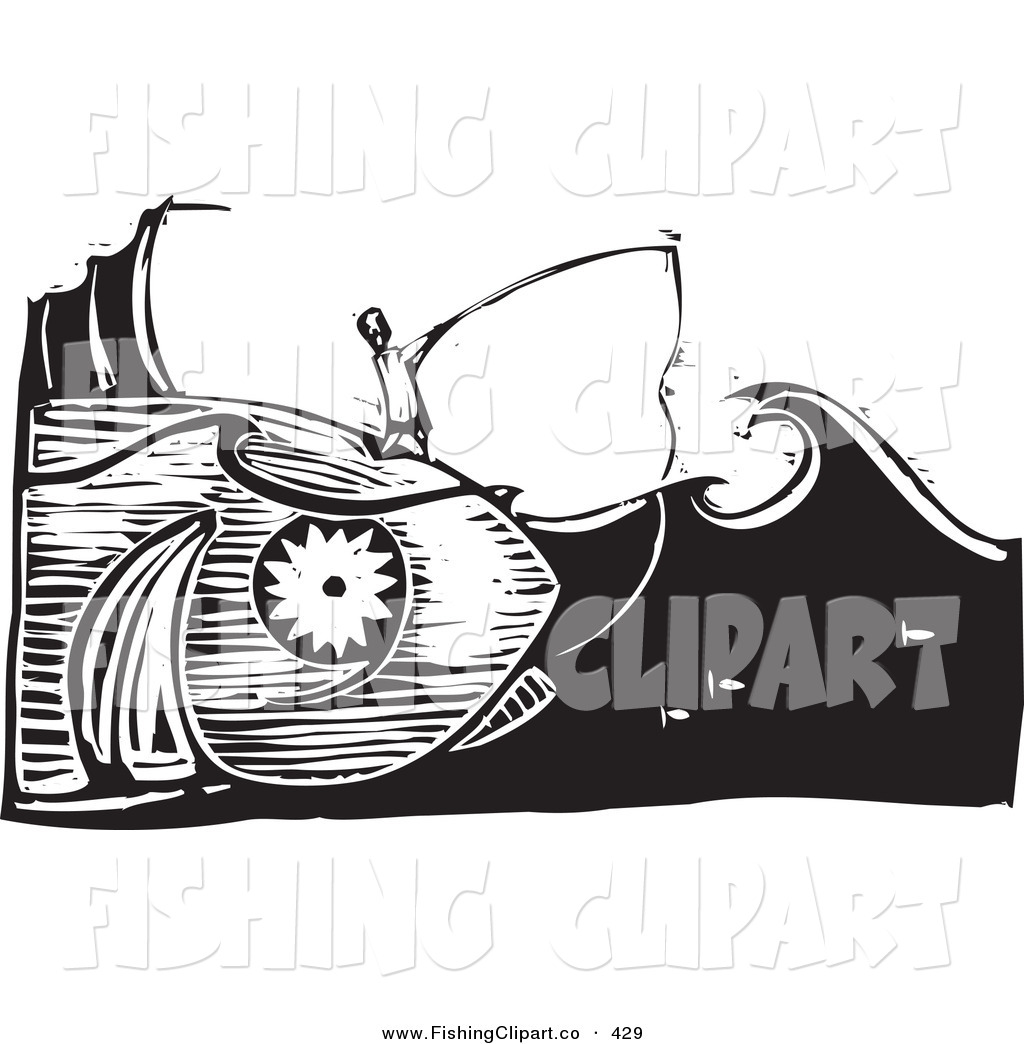Woodcut fish clipart svg library Clip Art of a Black and White Woodcut Scene of a Man Fishing ... svg library