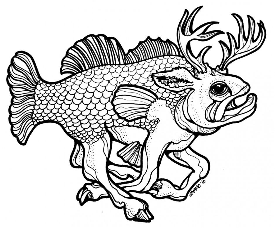 Woodcut fish clipart jpg freeuse stock Best Bass Fish Outline #18272 - Clipartion.com jpg freeuse stock