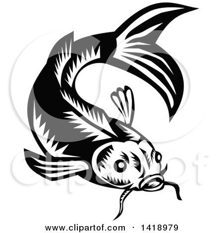 Woodcut fish clipart clipart black and white library Clipart of a Retro Black and White Woodcut Koi Carp Fish ... clipart black and white library