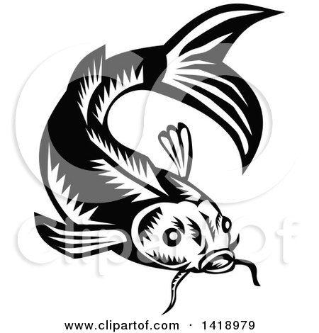 Woodcut fish clipart