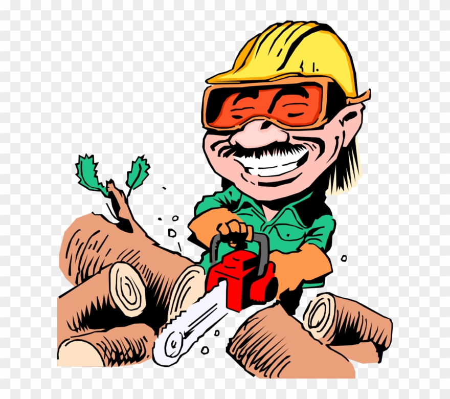 Woodcutter clipart png free download Vector Illustration Of Woodcutter With Chainsaw Cutting ... free download