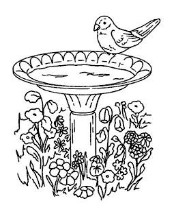 Wooden bird bath clipart banner Birdbath & Feeder Clear Stamp Set 11161MC banner
