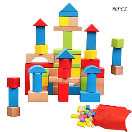 Wooden blocks clipart transparent stock Whispex Wooden Building Blocks Set ,Hardwood Plain Colored Wood Block,80  Pcs,Intellectual Tevelopment Toy. transparent stock