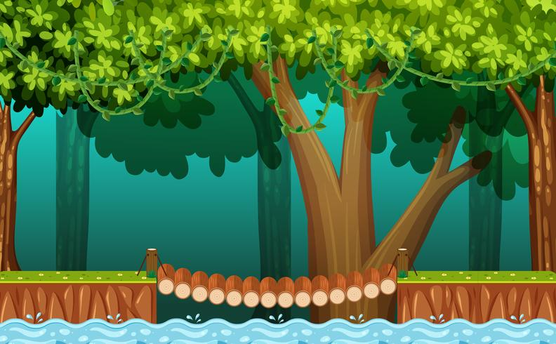 Wooden bridge side view clipart clip art download The Wooden Bridge in Forest - Download Free Vectors, Clipart ... clip art download