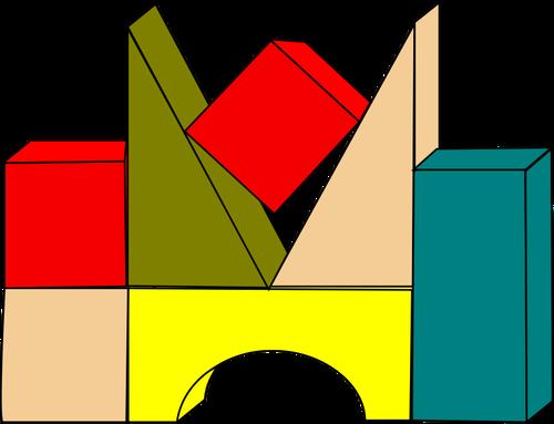 Wooden building blocks clipart picture stock Vector drawing of wooden color building blocks   Public domain vectors picture stock