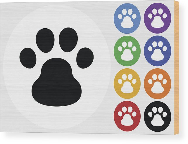 Wooden flat footprint clipart svg black and white download Dog Paw Icon On Flat Color Circle Buttons Wood Print svg black and white download