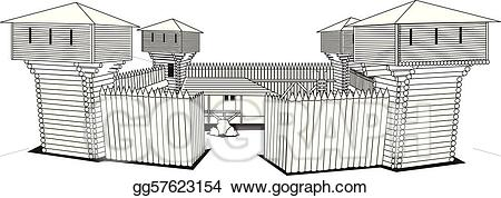 Wooden fort clipart jpg library Vector Clipart - Fort. Vector Illustration gg57623154 - GoGraph jpg library