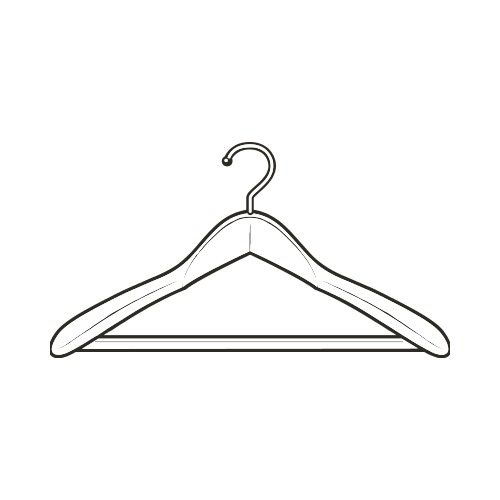 Wooden hanger clipart image black and white WOODEN HANGER BW Clip Art - Get Started At ThatShirt! image black and white