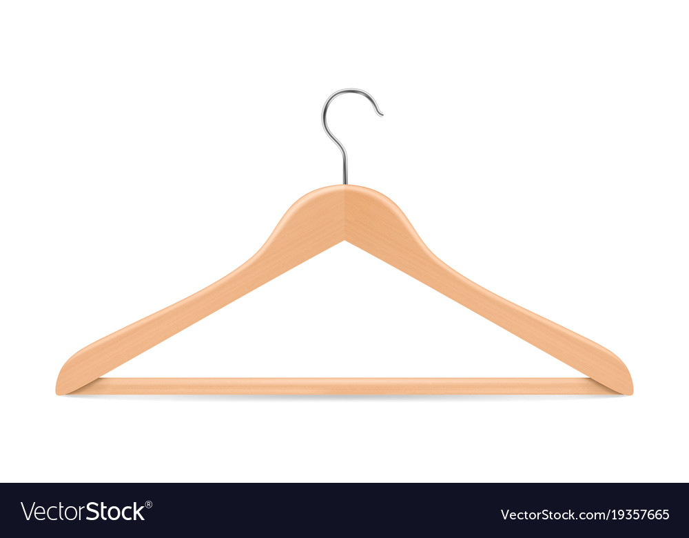 Wooden hanger clipart black and white stock Realistic clothes coat wooden hanger close vector image black and white stock