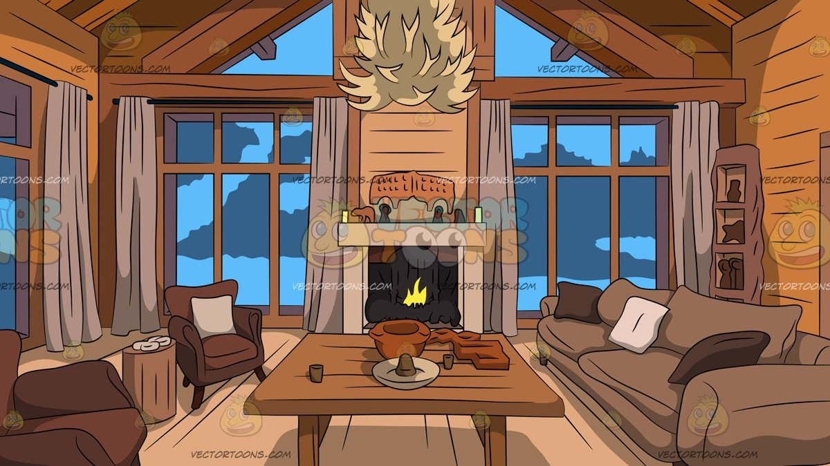 Wooden house interior clipart clip art library library Wood Cabin Living Room Background clip art library library