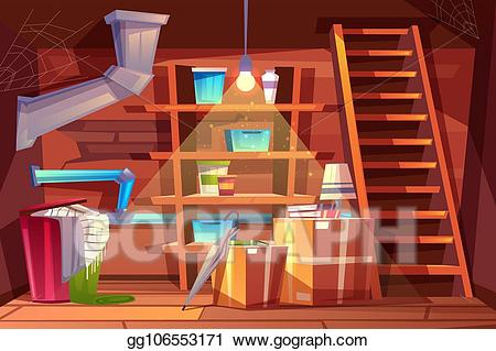 Wooden house interior clipart graphic library Vector Art - Vector cellar interior, cartoon storage in ... graphic library