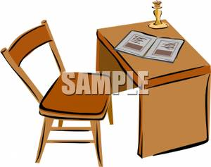 Wooden office desk clipart image transparent library A Wooden Office Desk With Chair - Royalty Free Clipart Picture image transparent library