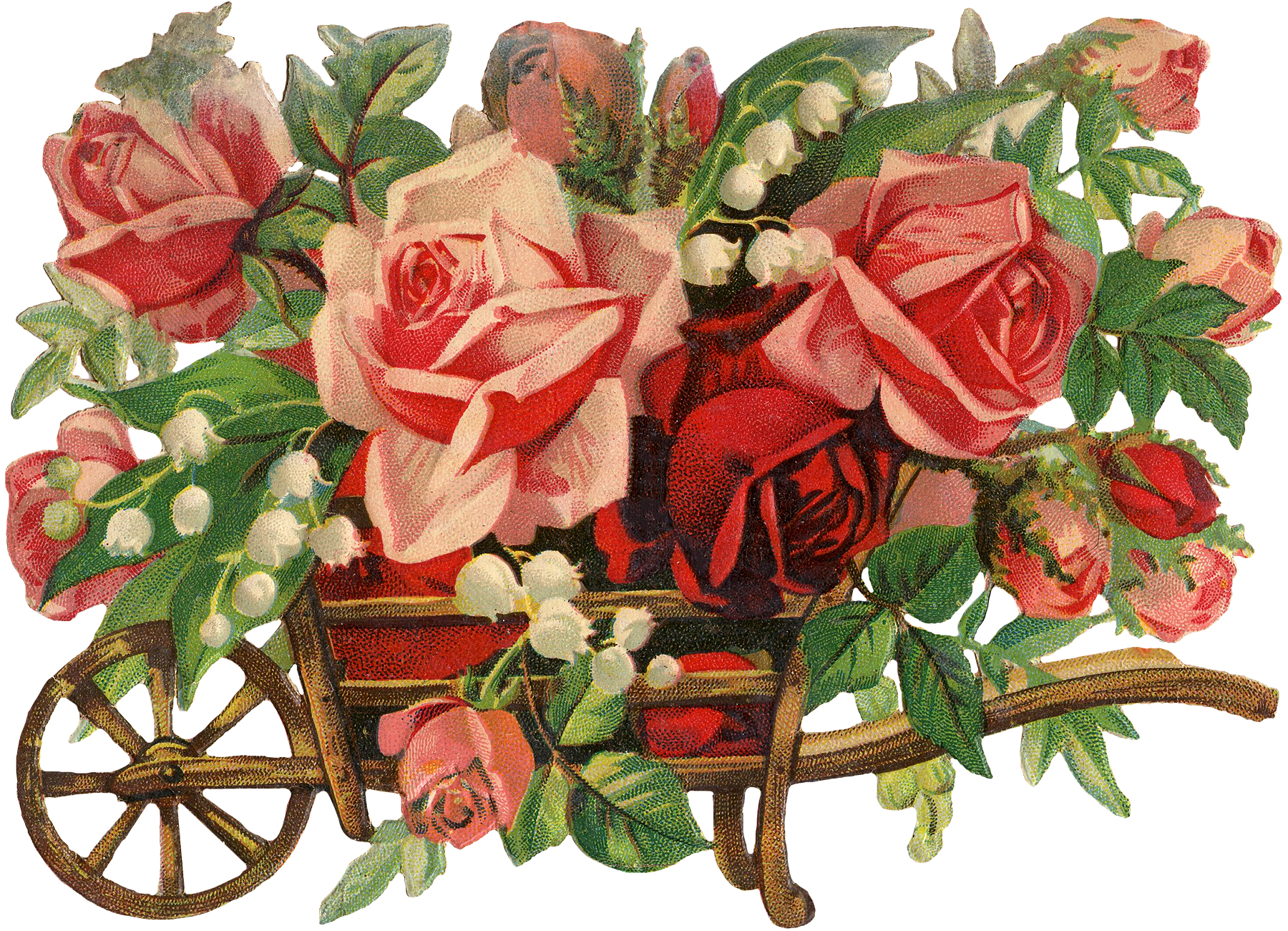 Wooden roses clipart svg black and white download Vintage Peach Roses in Wooden Wheelbarrow Image! - The ... svg black and white download