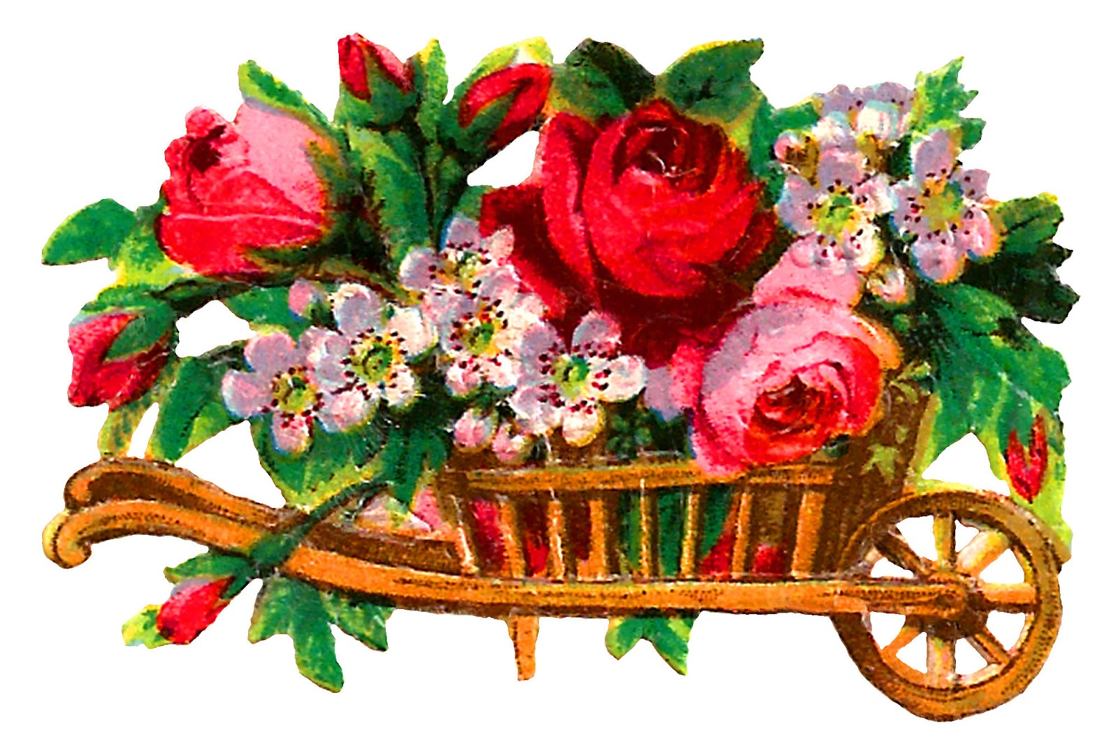 Wooden roses clipart jpg library download Antique Images: Free Rose Flower Wooden Cart Clipart Digital ... jpg library download