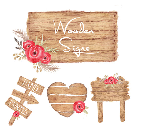 Wooden rustic signs clipart vector library stock Watercolor wooden sign clipart, wood clipart, Rustic wood ... vector library stock