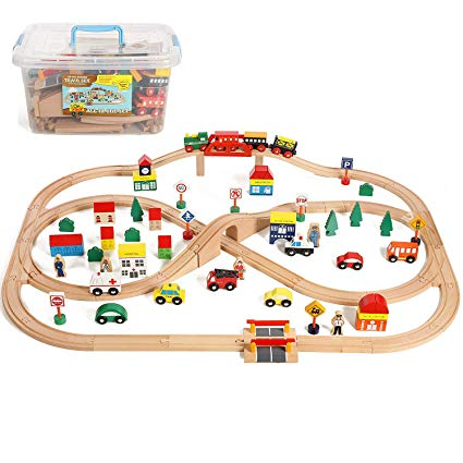Wooden traintrack clipart graphic black and white On Track USA 100 Piece All in One Wooden Train Set with Accessories, Comes  in A Clear Container, Compatible with All Major Brands graphic black and white