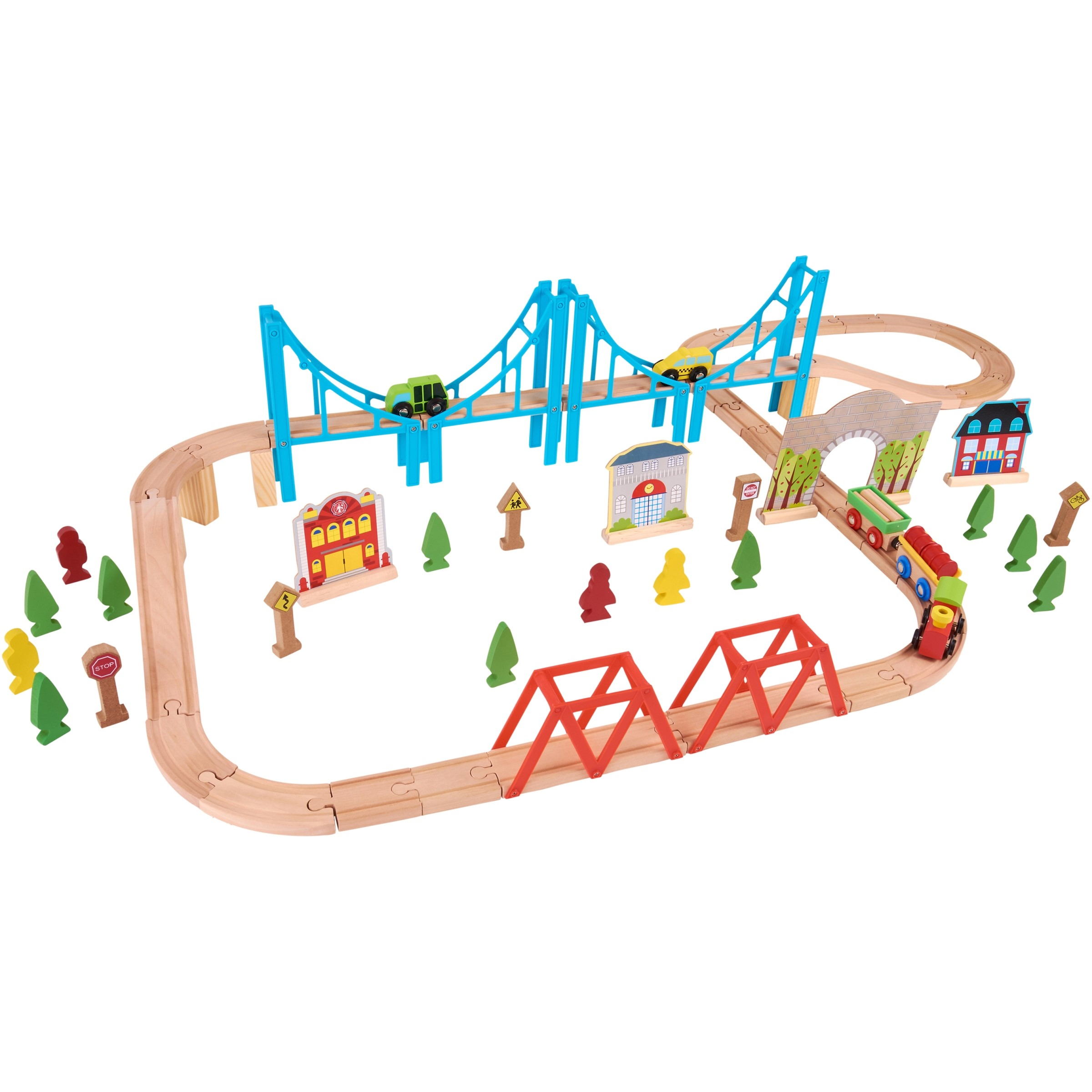 Wooden traintrack clipart vector royalty free Spark. Create. Imagine 75-Piece Natural & Color Wooden Train Playset vector royalty free