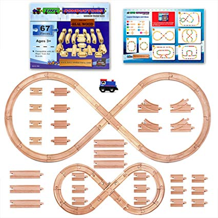Wooden traintrack clipart jpg library stock Tiny Conductors 67 Piece Wooden Train Track Set with Train Car, 100% Real  Wood, Compatible with Thomas and All Other Major Brands Wooden Toy Railroad  ... jpg library stock
