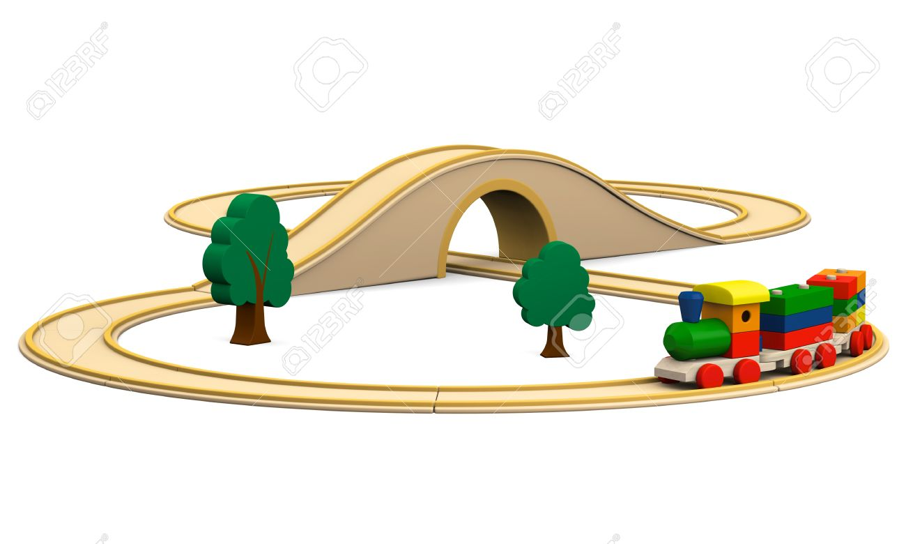 Wooden traintrack clipart banner transparent stock 3D Illustration Of Colorful Wooden Toy Train With Track ... banner transparent stock
