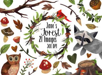 Woodland acorn clipart clip art free download Watercolor Woodland Clipart clip art free download