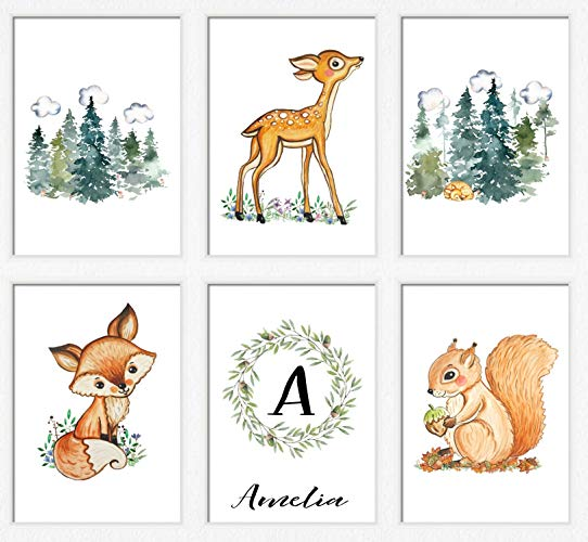 Woodland animal babies clipart