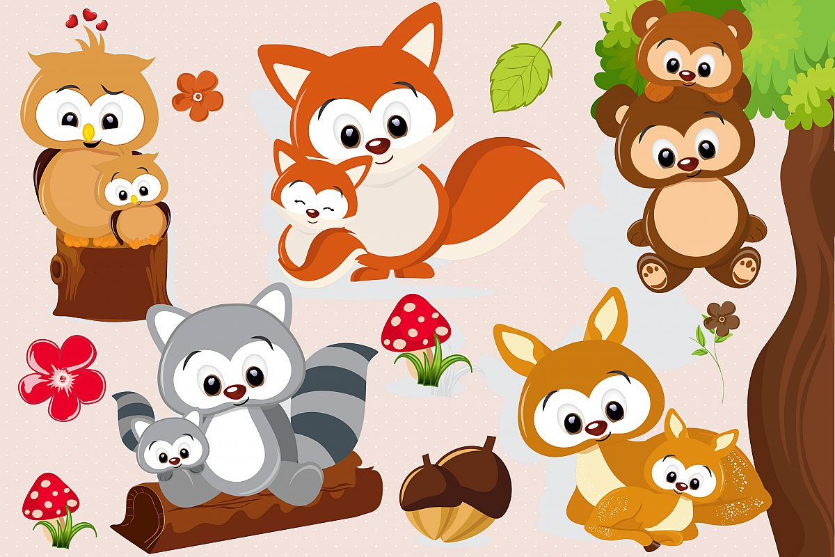Woodland animal clipart picture black and white stock Woodland animal clipart, Woodland animal graphics picture black and white stock