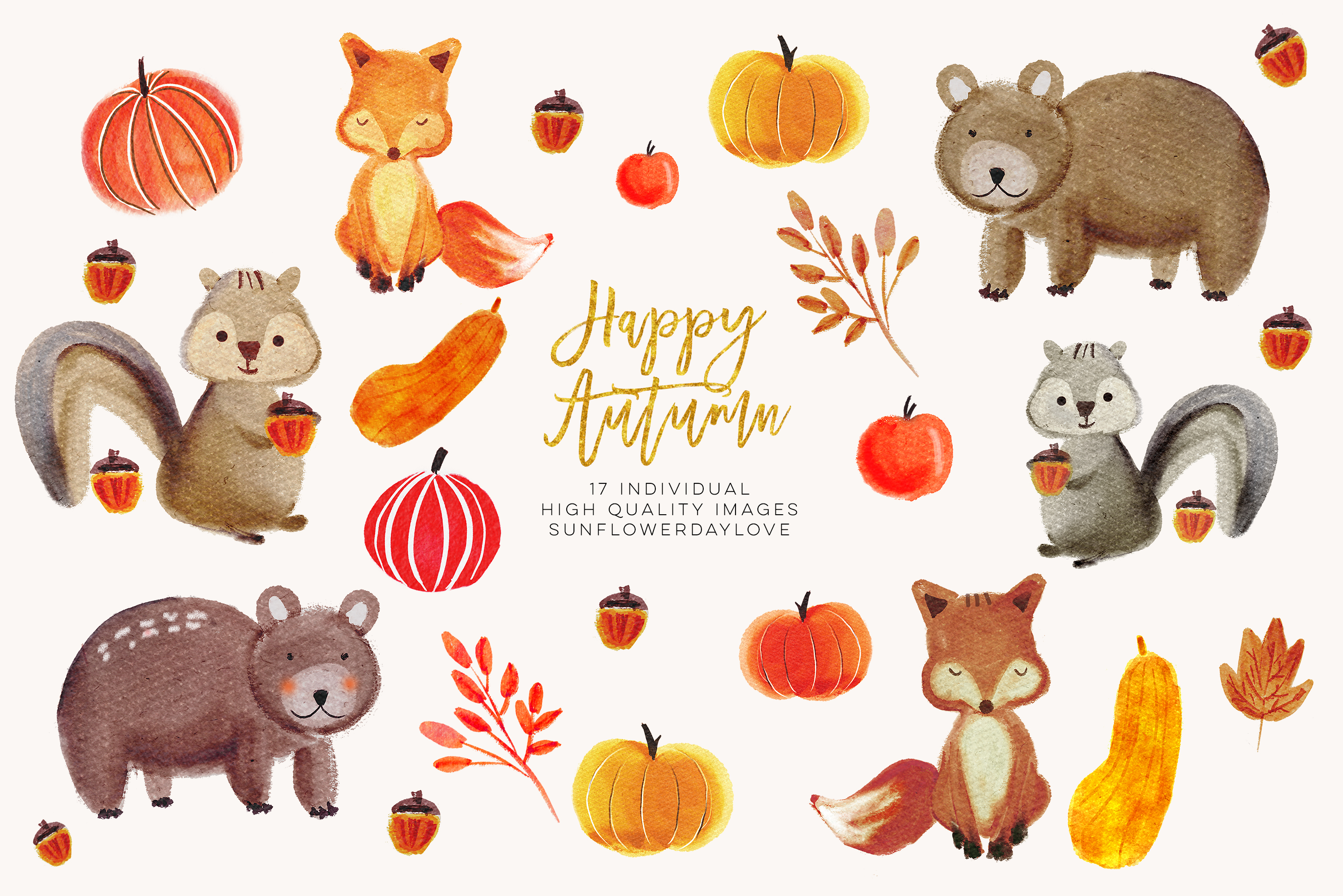 Autumn fox clipart png library Watercolor forest animals clipart, autumn animal clip art, bear clipart,  fox clip art, Fall Animal Clip Art Illustrations, woodland clipart - Vsual png library