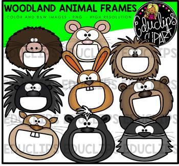 Woodland animal clipart frames graphic black and white stock Woodland Animal Frames Clip Art Bundle {Educlips Clipart} graphic black and white stock