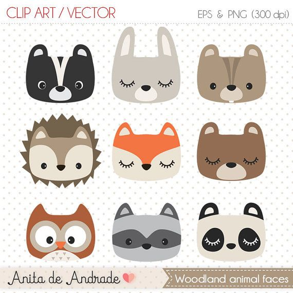 Woodland animal face masks clipart picture stock Woodland clipart, cute woodland animal, woodland nursery ... picture stock