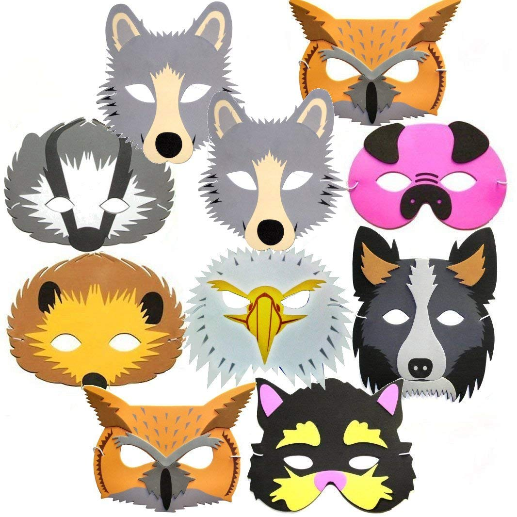 Woodland animal face masks clipart image transparent 10 Woodland & Farm Animal Foam Childrens Face Masks Made by Blue Frog Toys image transparent