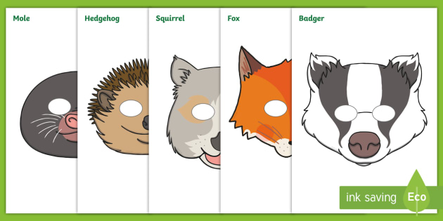 Woodland animal face masks clipart vector download Woodland Animals Role-Play Masks - Squirrel, hedgehog ... vector download