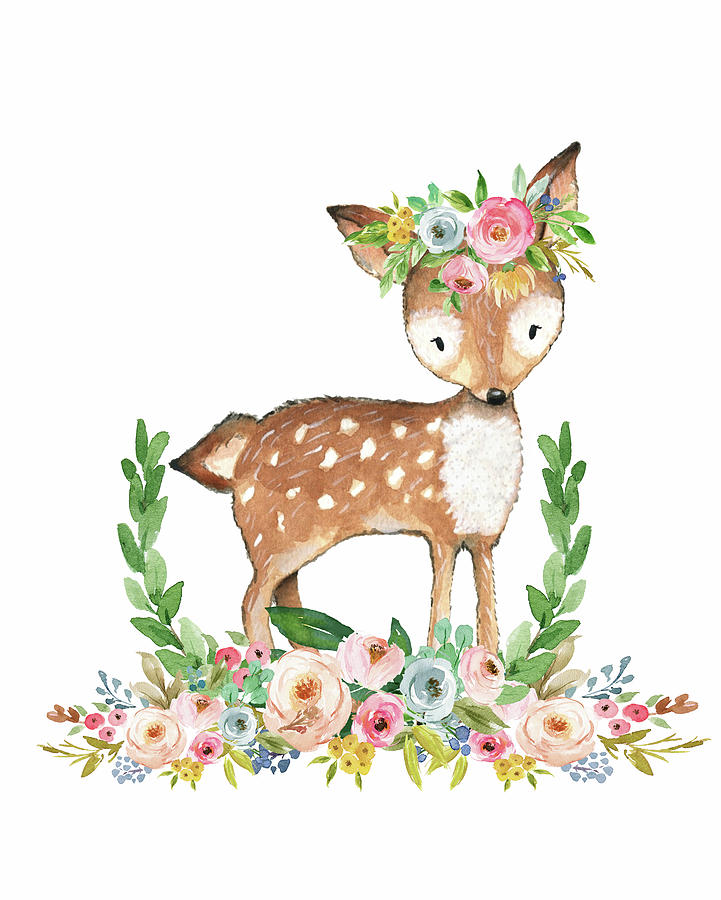 Woodland deer clipart jpg royalty free library Boho Woodland Baby Nursery Deer Floral Watercolor jpg royalty free library