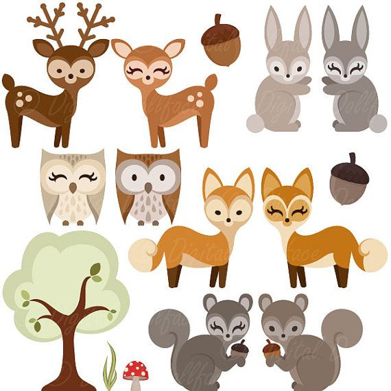 Woodland creatures deer clipart picture freeuse stock Woodland Forest Animal Clipart, Owl, Deer, Fox, Squirrel ... picture freeuse stock