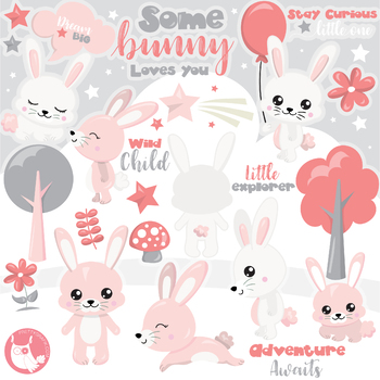 Woodland bunny clipart banner Sale Woodland bunny clipart commercial use, vector graphics, digital -  CL1145 banner