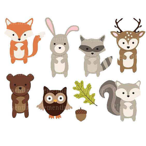 Woodland creatures deer clipart clip royalty free stock Paper Woodland Animal Clip art - Deer, bear and owl leaves ... clip royalty free stock