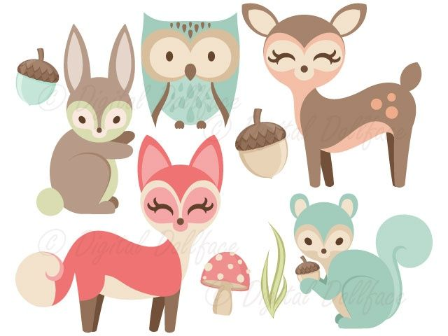 Woodland creatures deer clipart library Woodland Animals Clipart - Fox, Owl, Deer, Bunny, Squirrel ... library