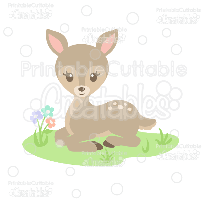 Woodland deer clipart banner free Sweet Woodland Deer SVG Cut File & Clipart for Silhouette ... banner free
