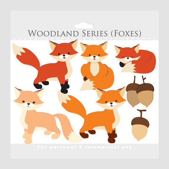 Woodland fox clipart free svg transparent library Fox clipart - whimsical foxes clip art, cute, woodland ... svg transparent library