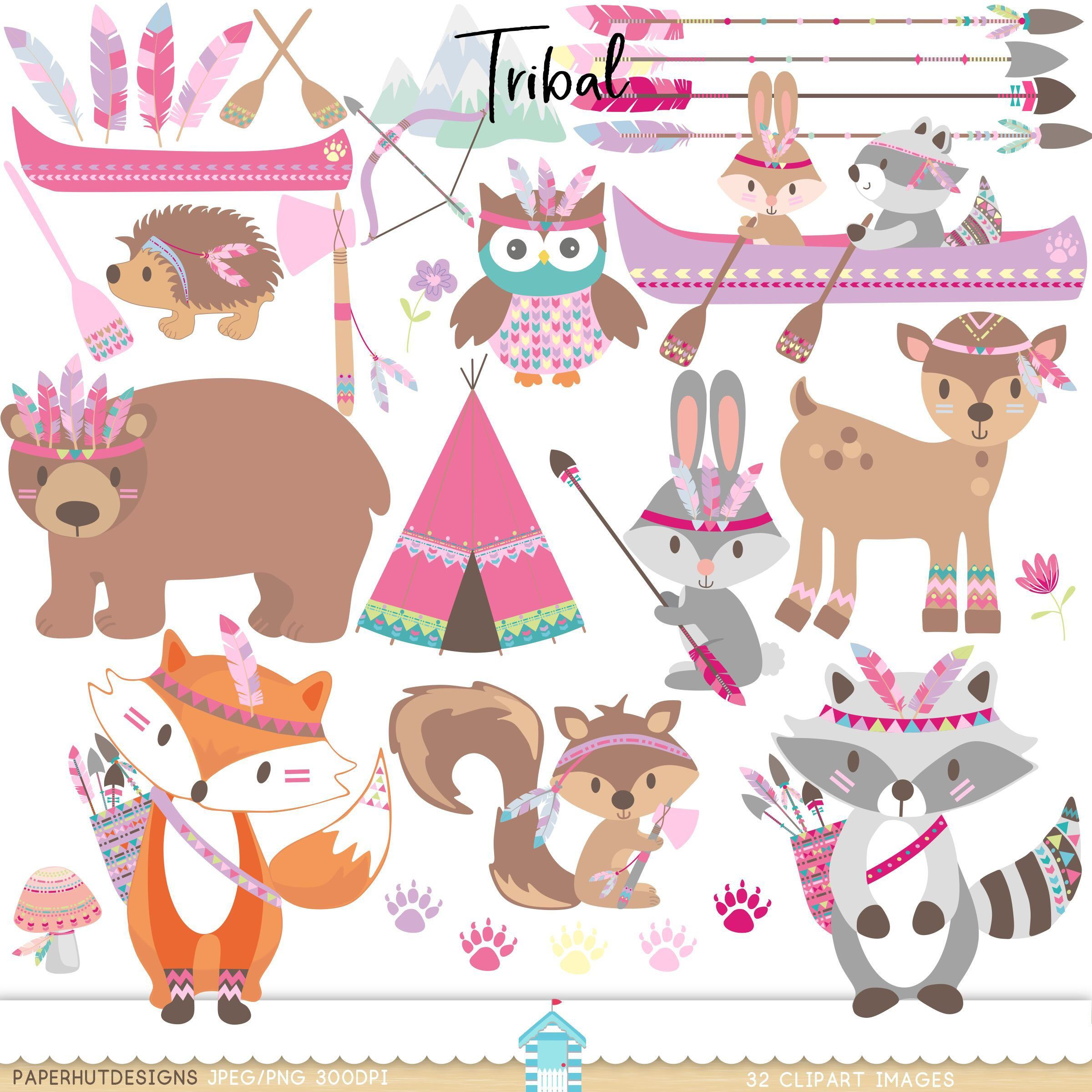 Woodland friends camping clipart image black and white library Girls Tribal Animals Clipart-Woodland Animals Camping Clip ... image black and white library