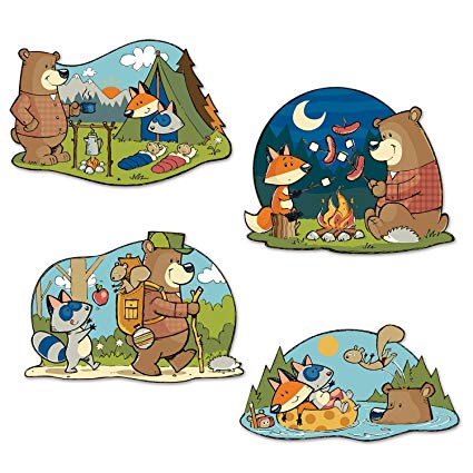 Woodland friends camping clipart clip black and white Amazon.com: Beistle Club Pack Woodland Friends Outdoor Party ... clip black and white