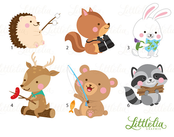 Woodland friends camping clipart vector black and white Woodland animal summer camp - camping forrest animal - 17026 ... vector black and white