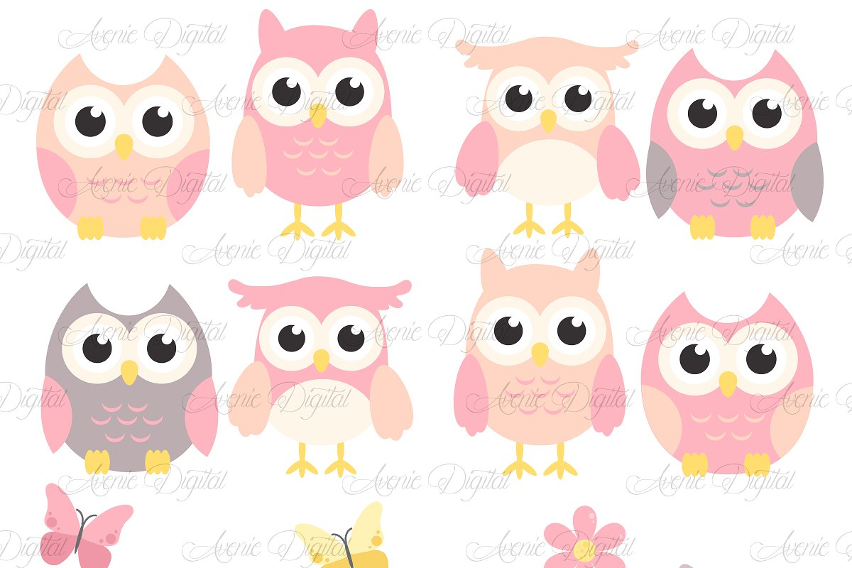 Woodland grey baby owl clipart graphic library library Pink and Grey Owl Cliparts - Vectors graphic library library